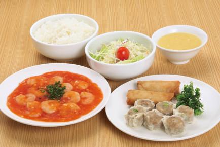 シウマイ定食(海老のチリソース定食) ライスおかわり自由